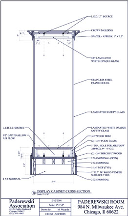 Image credit: Margaret Wygoda, crossection of a display cabinet, CAD drawing